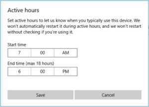 Edit the Active Hours for start and end times.
